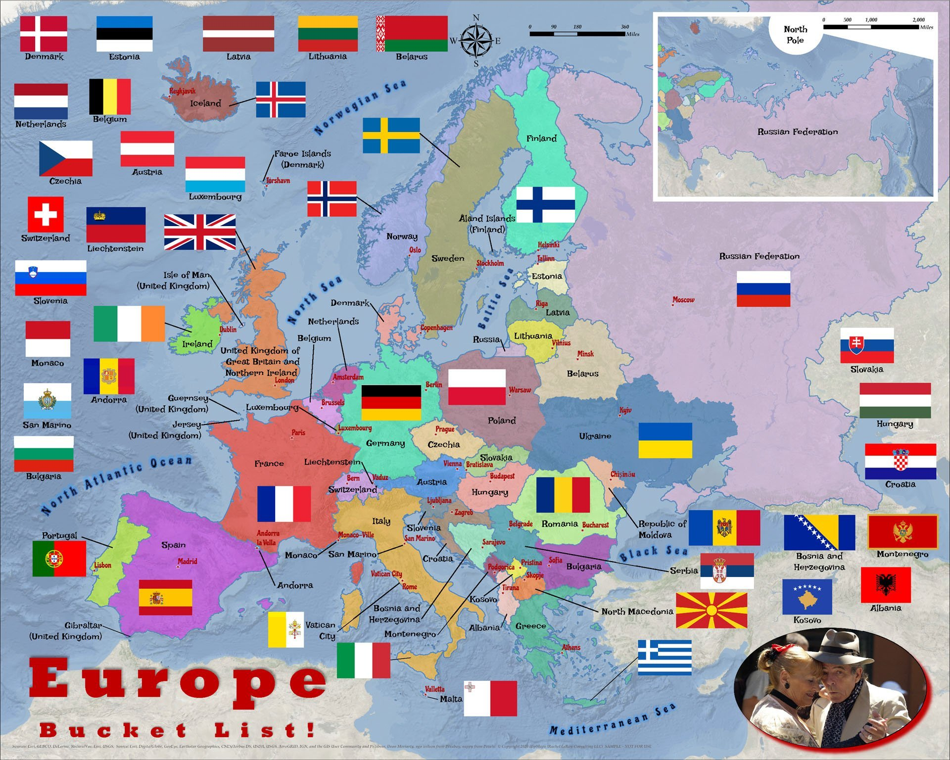 Europe countries flags adult