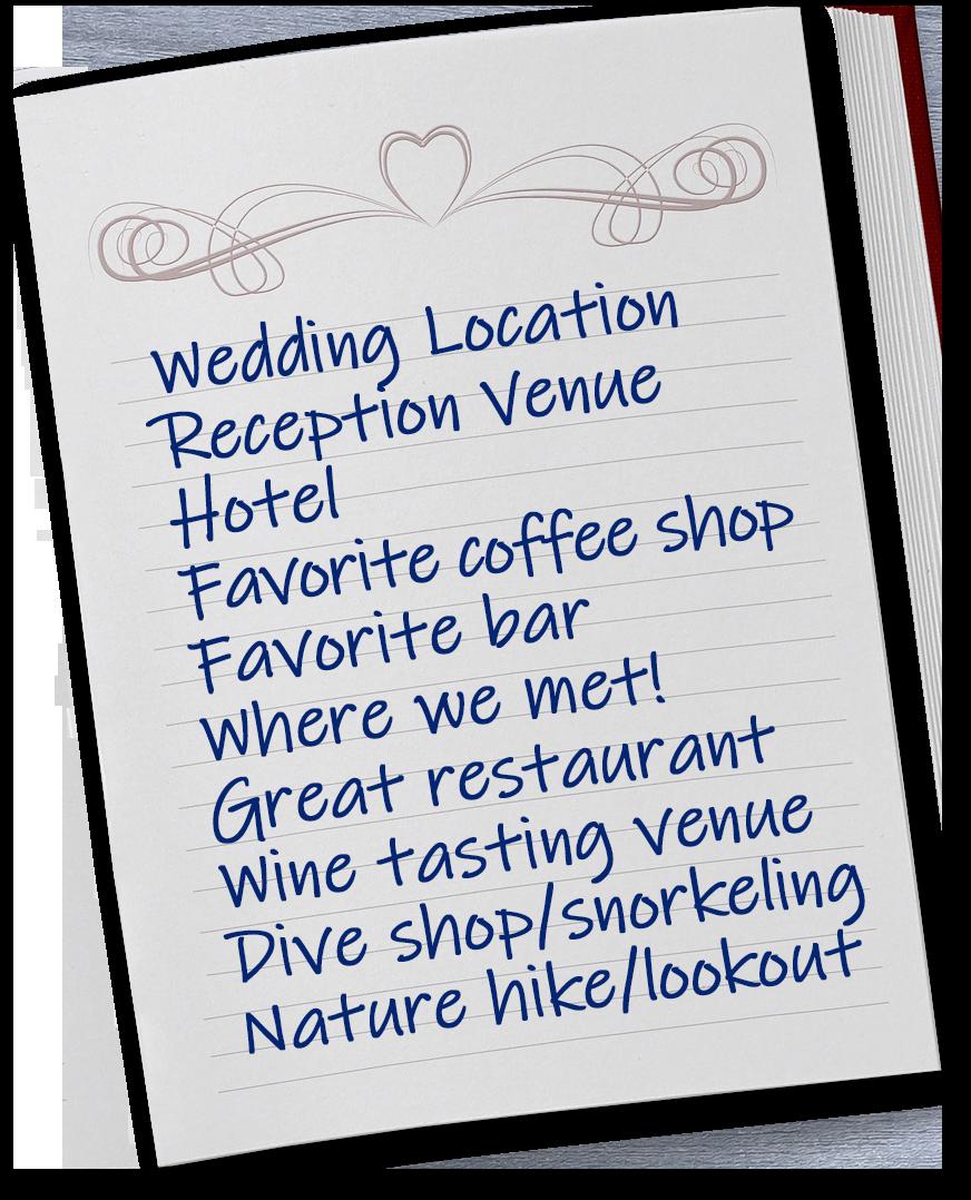 Places List Wedding