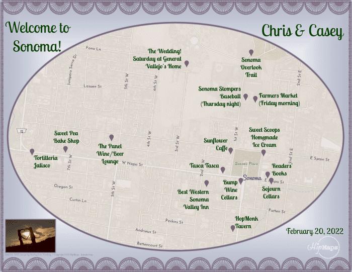Wedding map Sonoma