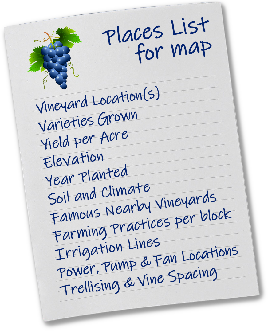 Places List Winery Map